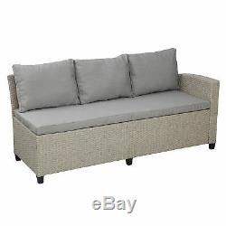 Patio Furniture 5PCS Outdoor Conversation Set Wicker Sectional Sofa Dining Table