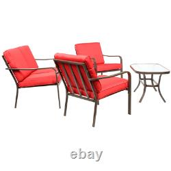 Patio Furniture Conversation Set 4 Piece Outdoor Coffee Table Chairs Loveseat