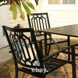 Patio Furniture Metal Chair Set of 2 Bistro Deck Outdoor Dining Chairs Stackable