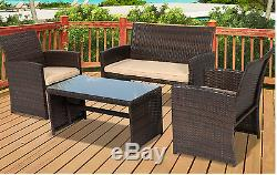 Patio Furniture Set Outdoor Comfort Cushioned Seats Sturdy Steel Frame 4 Pieces