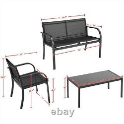 Patio Furniture Set Outdoor Patio Rattan Wicker Table Sofa Furniture Set 4pcs