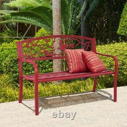 Patio Garden Bench Park Yard Outdoor Furniture Cast Iron Porch Chair Red