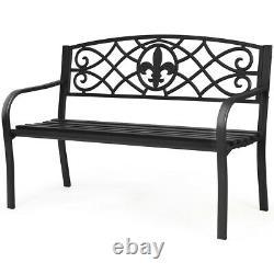 Patio Garden Bench Park Yard Outdoor Furniture Steel Slats Porch Chair Seat