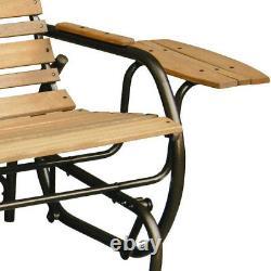 Patio Glider Porch Rocking Swing Bench 2 Seat Outdoor Furniture Wooden Loveseat