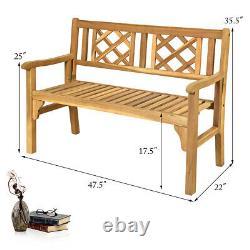 Patio Outdoor Acacia Wood Bench Folding Loveseat Chair Garden Furniture Teak