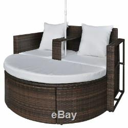Patio Outdoor Rattan Daybed 2-in-1 Round Sofa Lounge Furniture Set with Parasol