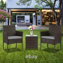 Patio Porch Furniture Sets 3 Pieces PE Rattan Wicker Chairs with Table Outdoor