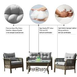 Patio Rattan Sofa Set 4 Pcs Wicker Garden Furniture Outdoor Sectional Couch Gray