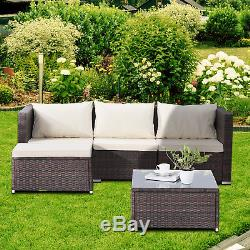 Patio Rattan Wicker Furniture Set Garden Sectional Couch Outdoor Sofa & Table