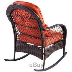 Patio Rattan Wicker Rocking Chair Porch Deck Rocker Outdoor Furniture With Cushion