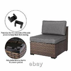 Patio Rattan Wicker Single Sofa Set Sectional Couch Outdoor Cushioned Furniture