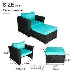 Patio Sectional Sofa Lounge Chair PE Rattan Couch With Ottoman Outdoor Furniture