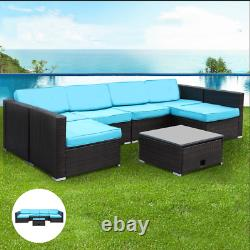 Patio Sectional Sofa Set 7PCS Outdoor Rattan Wicker Couch Cushioned Furniture US