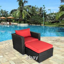 Patio Sectional Sofa Set PE Rattan Lounge Chair Ottoman Couch Outdoor Furniture