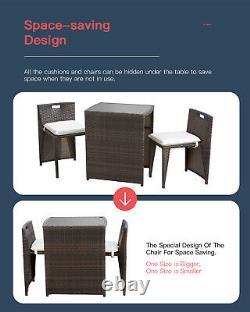 Patio Set 3 Pieces Outdoor Wicker Patio Furniture Sets Wicker Bistro Set Rattan