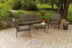 Patio Set 4 Piece Conversation Love Seat Cushion Durable Outdoor Furniture Deck