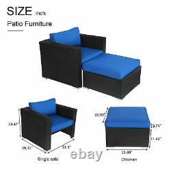 Patio Sofa Lounge Chair Set PE Rattan Ottoman Sectional Couch Outdoor Furniture