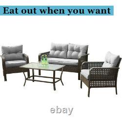 Patio Sofa Set 4 Pcs Outdoor Furniture Set Rattan Wicker Cushion Outdoor Garden