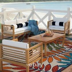 Patio Sofa Set 4pcs Outdoor Furniture with Cushion Coffee Table & Pillows
