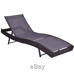 Patio Sun Bed Adjustable Pool Wicker Lounge Chair Outdoor Furniture WithCushion