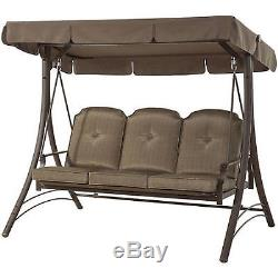 Patio Swing With Canopy 3 Person Brown Padded Seats Outdoor Furniture Backyard