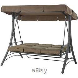 Patio Swing With Canopy 3 Person Padded Seats Outdoor Furniture Backyard Brown