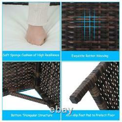 Patio Wicker Furniture Outdoor 3Pcs Rattan Sofa Garden Conversation Table Set US