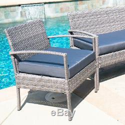 Patio Wicker Furniture Outdoor 4PC Rattan Sofa Garden Conversation Set, Gray
