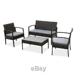 Patio Wicker Furniture Outdoor 4PCs Rattan Sofa Garden Conversation Set, Black