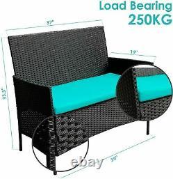 Patio Wicker Furniture Outdoor 4Pcs Rattan Sofa Garden Conversation Set Black