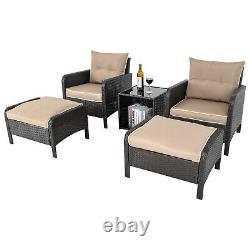 Patio Wicker Furniture Outdoor 5PCS Rattan Sofa Cushion Conversation Set Garden