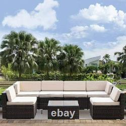 Patio Wicker Outdoor Furniture 7-Piece Sectional All-Weather Sofa with Cushions