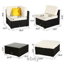 Patio Wicker Rattan Square Ottoman Seat Sofa Chair Outdoor Furniture