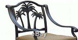 Patio palm tree cast aluminum barstool set of 4 outdoor swivel bar stools Bronze