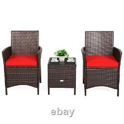 Patiojoy 3PCS Patio Rattan Furniture Set Cushioned Sofa Glass Tabletop Deck Red
