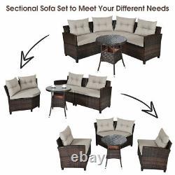 Patiojoy 4PCS Outdoor Patio Rattan Furniture Set Cushioned Sofa Table Sectional