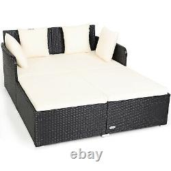 Patiojoy Outdoor Patio Rattan Daybed Pillows Cushioned Sofa Furniture Biege