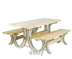 Picnic Table Kit Bench Seat Outdoor Patio Garden Furniture Flip Top Resin Frame