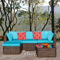 Polar Aurora 5pcs Patio Furniture Set Outdoor Rattan Wicker Sectional Sofa Set