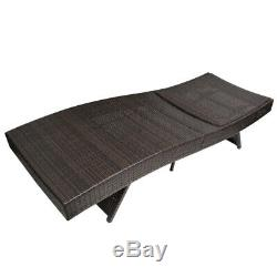 Pool Chaise Lounge Chair Outdoor Patio Sun Bed Rattan Furniture withCushion Beige