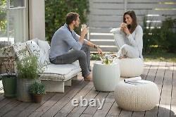 Pouf Outdoor Patio Set Dining Garden Furniture Wicker Storage Ottoman 3 Pieces