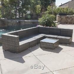 Rattan Aluminum Furniture 7 PCS Sofa Garden Outdoor Patio PE Wicker Cushioned