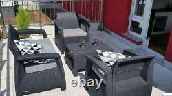 Rattan Garden Furniture Set 4 Piece Chairs Sofa Table Outdoor Patio Graphite