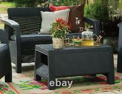 Rattan Keter Garden Furniture Set 4 Piece Chairs Sofa Table Outdoor Patio