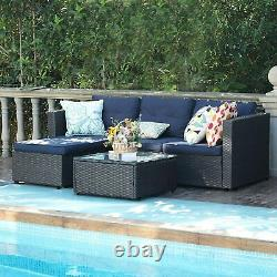 Rattan Sectional Sofa Set Outdoor Patio Chair Table With Pad Wicker Furniture