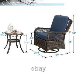 Rattan Swivel Patio Chairs Rocker with Cushion End Table Outdoor Furniture Set