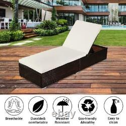 Rattan Wicker Chaise Lounge Chair Set Outdoor Patio Garden Furniture Pool Bed