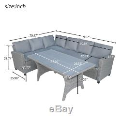 Rattan Wicker Set Outdoor Patio Furniture Sectional Sofa Dining Table With Cushion