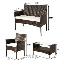 Rattan Wicker Sofa Set Storage Table Couch Cushioned Patio Outdoor Furniture