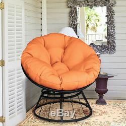 Round Swivel Papasan Chair Soft Orange Cushion Garden Outdoor Patio Furniture